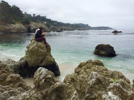 Haris and Jason on a rock. Point Lobos State Reserve, CA, May 2016