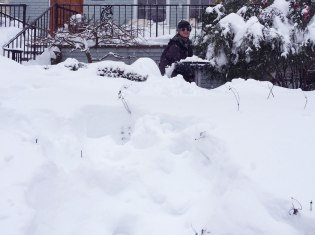 Shoveling the path to the front door.