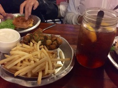 Longhorn burgers, fried okra, fries and iced tea at Meers. | Meers, OK